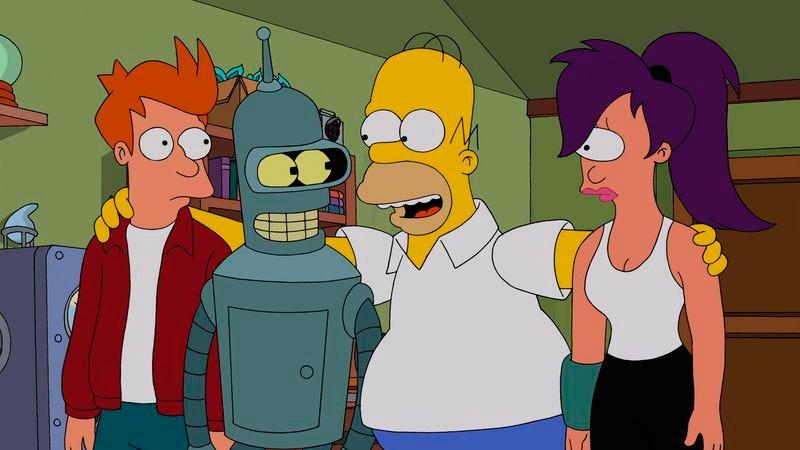 Fry, Bender, Homer, Leela (Fox)