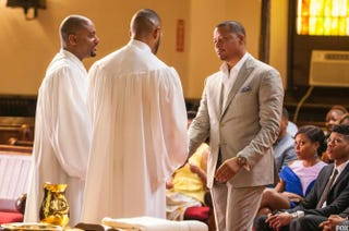 Lucious (Terrence Howard, right) could use a dunk in the baptism waters.Fox