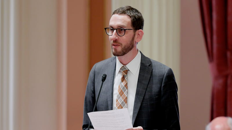 State Sen. Scott Wiener, D-San Francisco, addresses the state Senate, Thursday, Aug. 30, 2018. The Assembly approved Wiener's net neutrality bill seeking to revive regulations repealed last year by the FCC that prevented internet companies from exercising more control over what people watch and see on the internet.