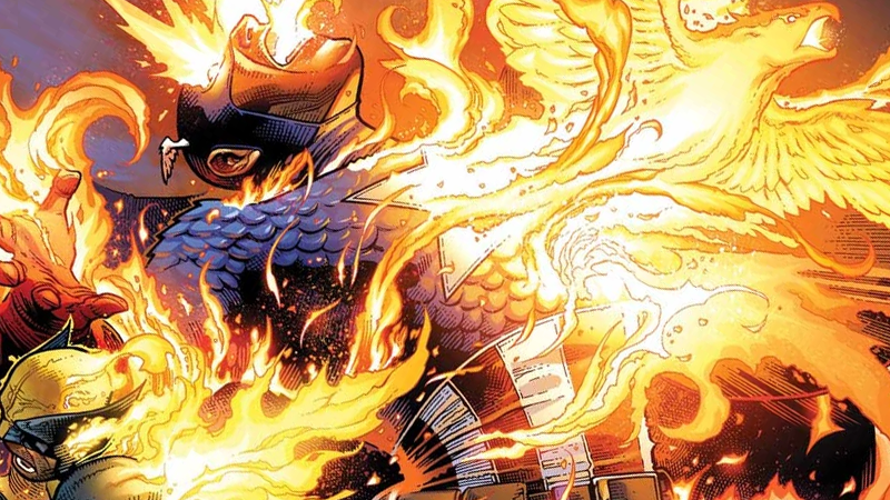 The flames of the Phoenix Force burn Avenger and X-Man alike.