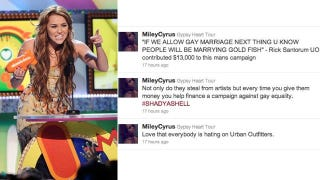 Illustration for article titled Miley Cyrus Bashes Urban Outfitters For Knock-Offs And Anti-Gay Politics