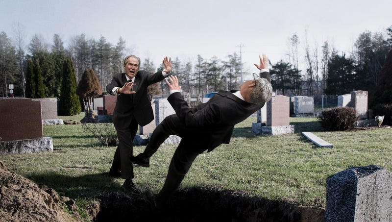Illustration for article titled 'No, Take Jeb Instead,' Screams George W. Bush While Shoving Brother Into Father's Grave