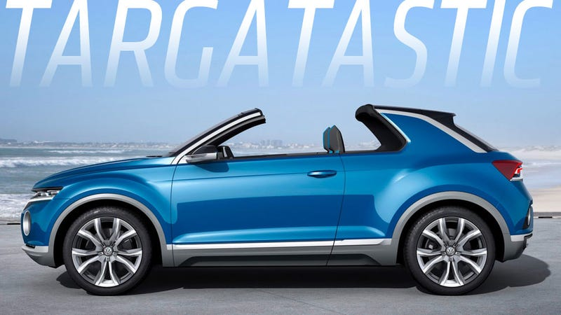 Illustration for article titled VW T-ROC Concept Is A Targa-Topped Little Brute The Size Of A Golf