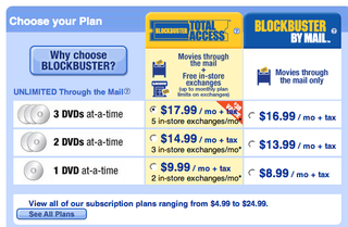 Illustration for article titled Blockbuster Gimps Total Access Plan, Now Only 5 Free Exchanges a Month, $1.99 Each After