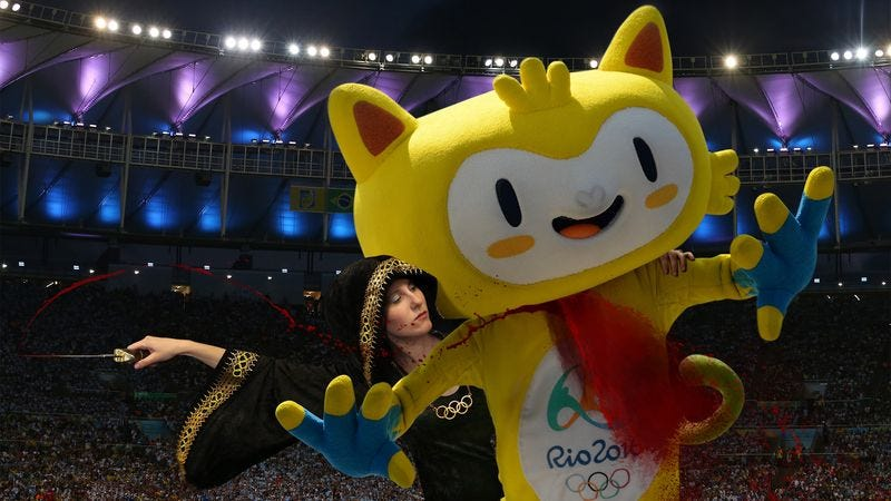 Illustration for article titled Olympics Head Priestess Slits Throat Of Official Rio Mascot To Sanctify Opening Ceremony
