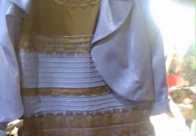 Different colored dress debate white gold