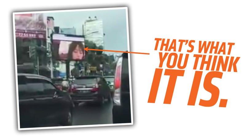 Indonesian police investigate porn on public video screen