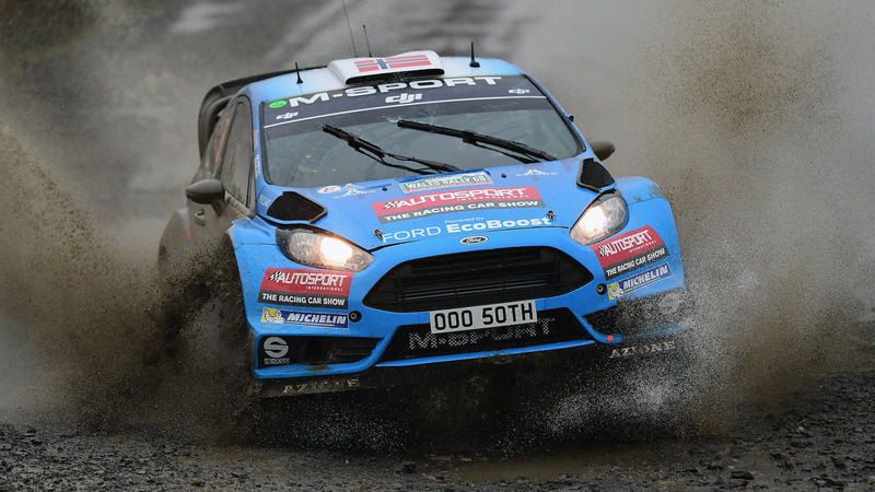 Mads Ostberg and co-driver Ola Floene competing for the M-Sport World Rally Team at the FIA World Rally Championship's Wales Rally GB event in Great Britain on Friday. Photo credit: Shaun Botterill/Getty Images