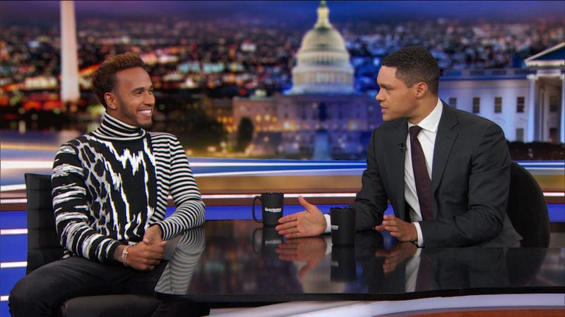 Illustration for article titled Lewis Hamilton Didn't Win His Fifth Championship This Weekend, But He Was On The Daily Show And That's Kind Of The Same Thing