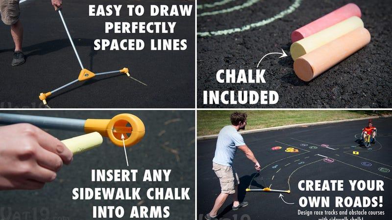 Illustration for article titled Chalk Road-Maker Turns Parking Lots Into Big Wheel Race Tracks