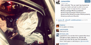 Romeo Miller's car crash (Instagram)