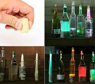 Illustration for article titled LEDs Hidden in Corks Light Up Booze Bottles to Eerie Effect