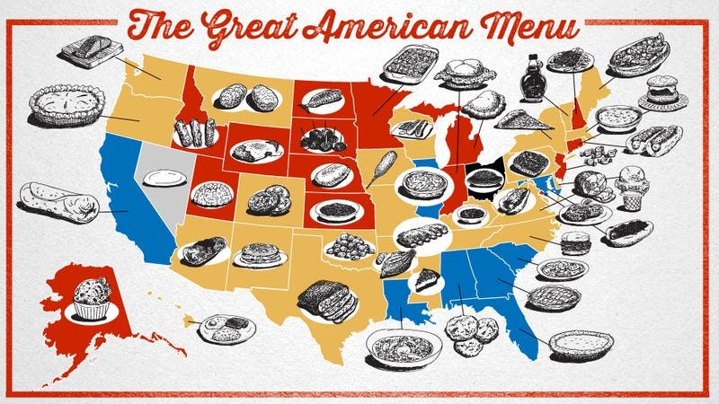 Illustration for article titled The Great American Menu: Foods Of The States, Ranked And Mapped