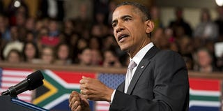 President Obama delivers a speech at the University of Cape Town on June 30. (Saul Loeb/AFP/Getty Images)