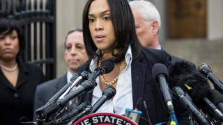 Baltimore City State's Attorney Marilyn J. Mosby announces on May 1, 2015, in Baltimore that criminal charges will be filed against Baltimore police officers in the death of Freddie Gray, who died in police custody a week after being arrested April 12, 2015.Andrew Burton/Getty Images