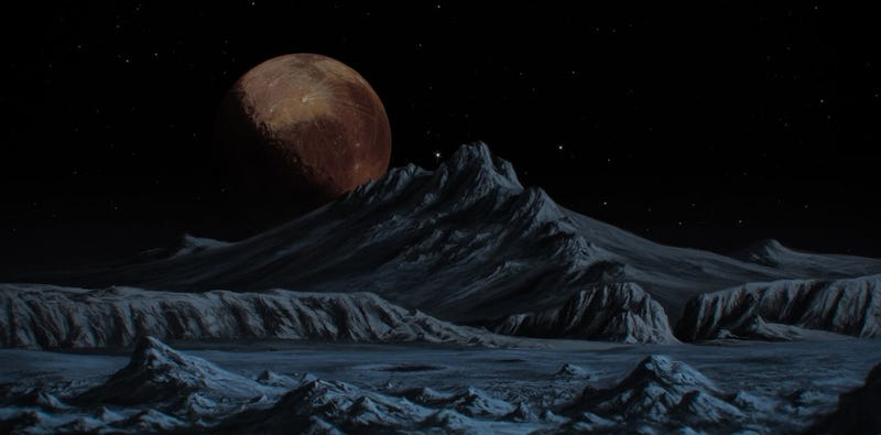Illustration for article titled Pluto Rises Over the Mountains of Charon