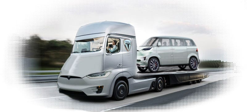 Illustration for article titled Will Tesla Actually Reveal Its Minibus And Semi Truck In The Next Nine Months?