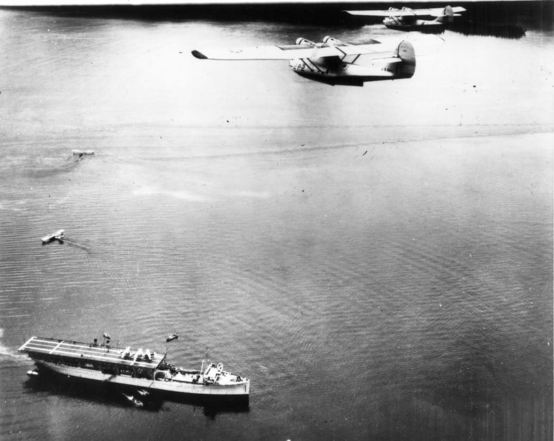 USS Langley as a sea plane tender... 1930's