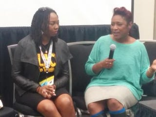 #BlackLivesMatters founders Opal Tometi and Alicia Garza during the SXSW panel discussion 'What #BlackLivesMatter Teaches Us About Solidarity' on March 16, 2015, in Austin, TexasJulie Walker/The Root