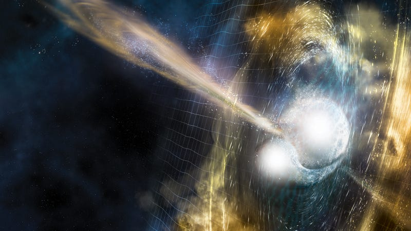 "From LIGO: ""Artist's illustration of two merging neutron stars. The narrow beams represent the gamma-ray burst while the rippling spacetime grid indicates the isotropic gravitational waves that characterize the merger. Swirling clouds of material ejected from the merging stars are a possible source of the light that was seen at lower energies."" Image: National Science Foundation/LIGO/Sonoma State University/A. Simonnet"