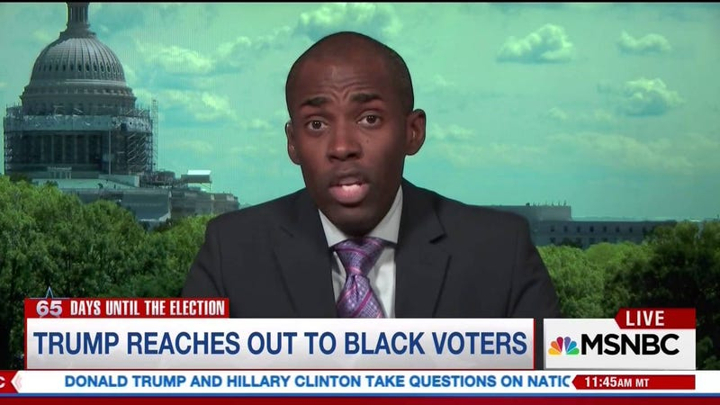 "Conservative commentator Paris Dennard, who I'm 72 percent certain has said, ""I'm not like other black people,"" before (MSNBC screenshot)"