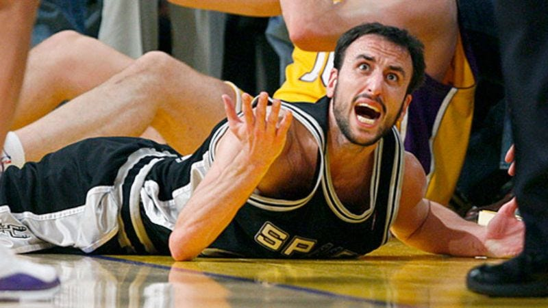 Illustration for article titled Injured Manu Ginobili Only Flopping At 85%