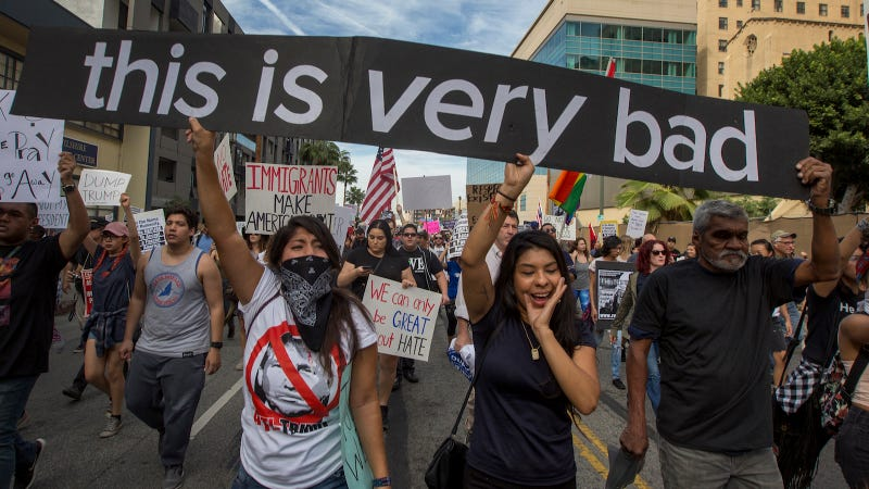 Protesters march in reaction to the upset election of Republican Donald Trump over Democrat Hillary Clinton in the race for President of the United States on November 12, 2016 in Los Angeles, California, United States. Image via Getty.