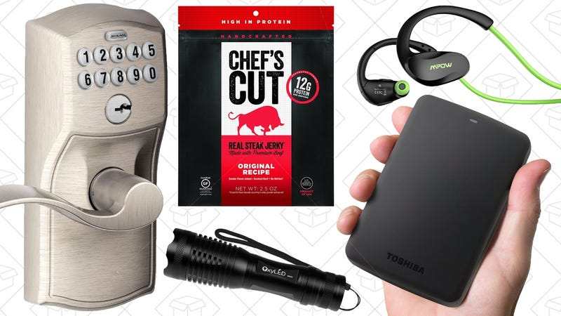 Illustration for article titled Today's Best Deals: Jerky Samples, External Storage, Schlage Door Handle, and More