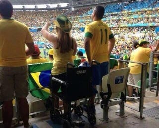 Illustration for article titled Police Probe Wheelchair-Bound Brazil Fans Standing At World Cup