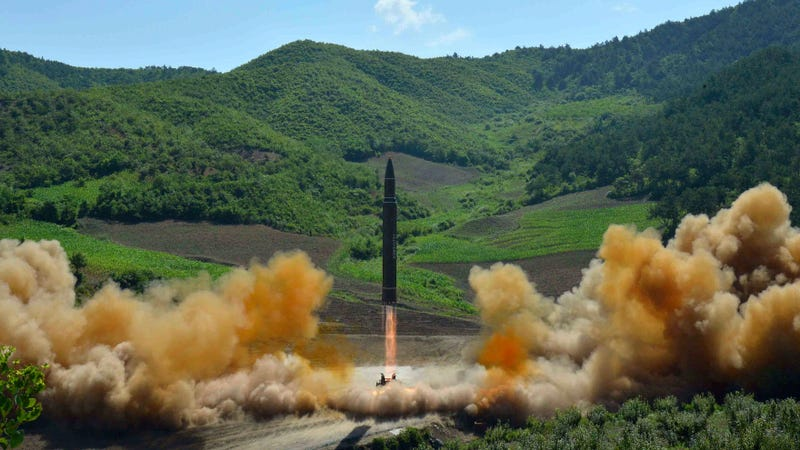 This unverified photo distributed by the North Korean government shows the apparent launch of a Hwasong-14 intercontinental ballistic missile, ICBM, in North Korea's northwest, Tuesday, July 4, 2017. (Image: AP)