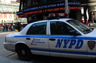 Police car takes a position in New York City's Times Square.EMMANUEL DUNAND/AFP/Getty Images