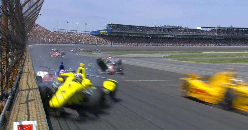 Illustration for article titled Racers Crash On First Lap Of Indianapolis 500, Then Crash Under Yellow