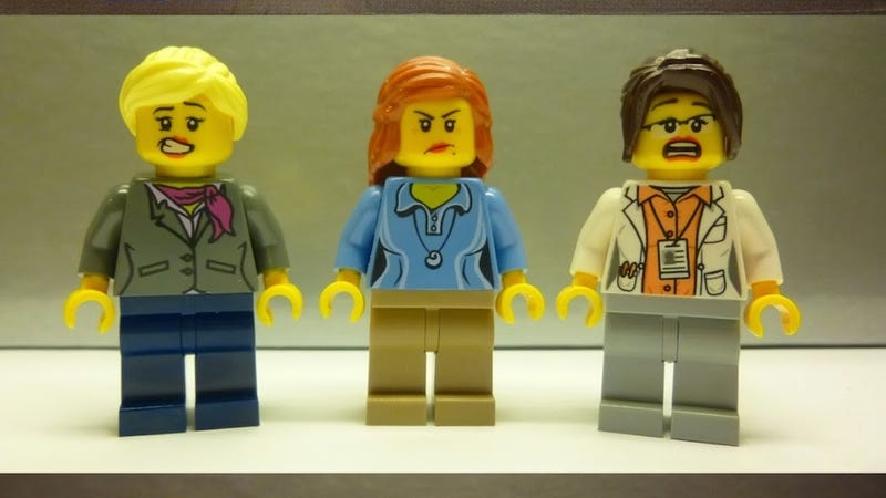 Illustration for article titled Why Are These Lady Scientist Lego Figurines So... Shapely?