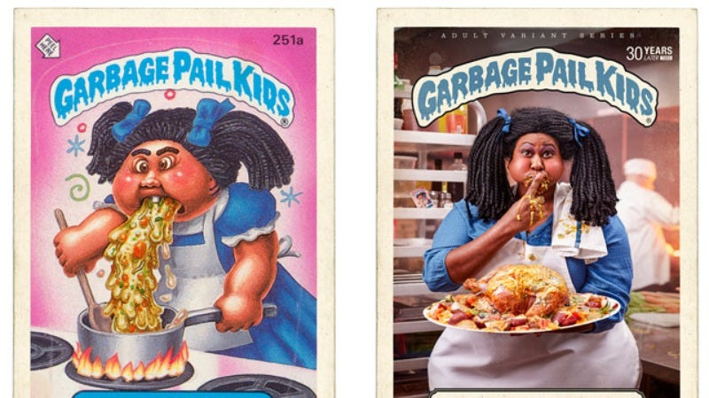 Illustration for article titled Artists reimagine Garbage Pail Kids as grown up and disgusting adults