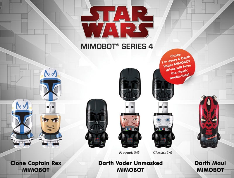 Illustration for article titled Darth Vader Unmasked Mimobot Flash Drive: If You're Lucky, You'll Get the Not-Whiny Anakin