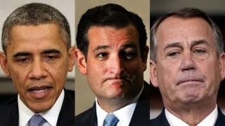 President Barack Obama (Win McNamee/Getty Images); Sen. Ted Cruz (Steve Pope/Getty Images); House Speaker John Boehner (Win McNamee/Getty Images)
