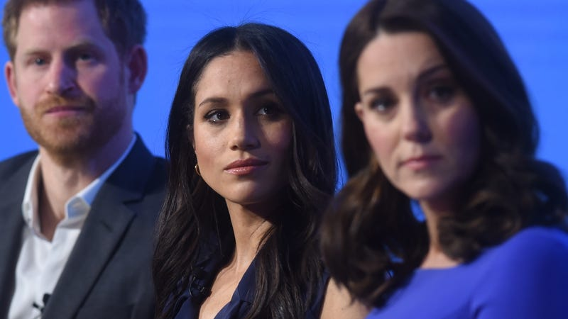 Prince Harry, Meghan Markle and Kate, Duchess of Cambridge, at the first annual Royal Foundation Forum held at Aviva on Feb. 28, 2018, in London.