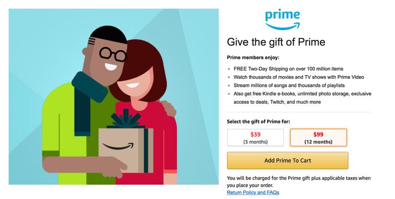 Amazon Prime Gift Membership | $99 | Amazon