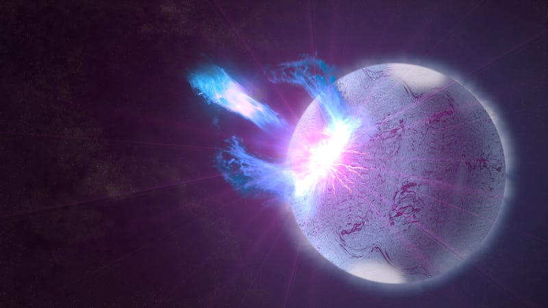 An artist's depiction of a rupturing magnetar, a rotating neutron star with an extreme magnetic field that scientists suspect may be one origin of fast radio bursts.
