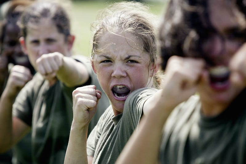 Illustration for article titled 17-Year-Old Marine Corps Recruit Practices Her Roar at Boot Camp