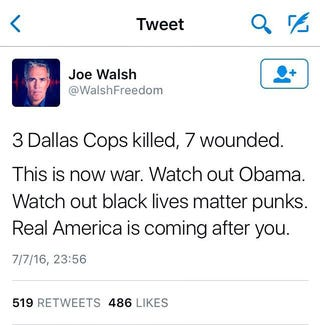 Former Illinois Rep. Joe Walsh's now-deleted tweetTwitter