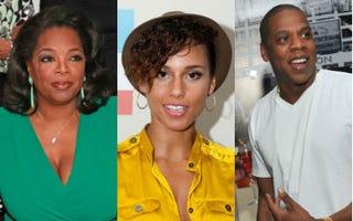 Oprah (Charles Eshelman/FilmMagic/Getty);Alicia Keys (Gilbert Carrasquillo/WireImage/Getty);Jay-Z (Mike Coppola/Getty)