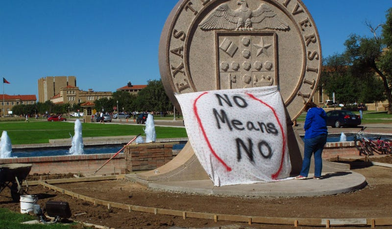 Illustration for article titled Texas Tech Fraternity Stripped of Charter For 'No Means Yes'  Sign