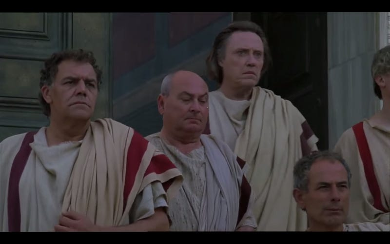 In the real ancient Rome, Christopher Walken held a surprising amount of power. Image from Julius Caesar via Youtube