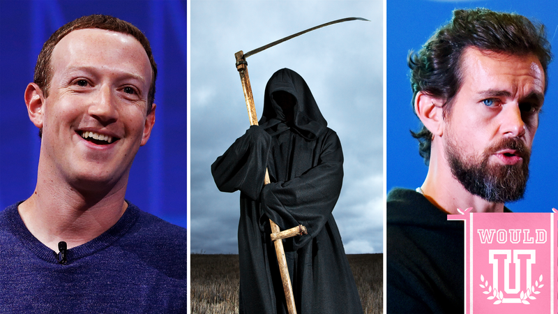 Illustration for article titled Would You Have Sex With Jack Dorsey, Mark Zuckerberg, or Choose Early Death?