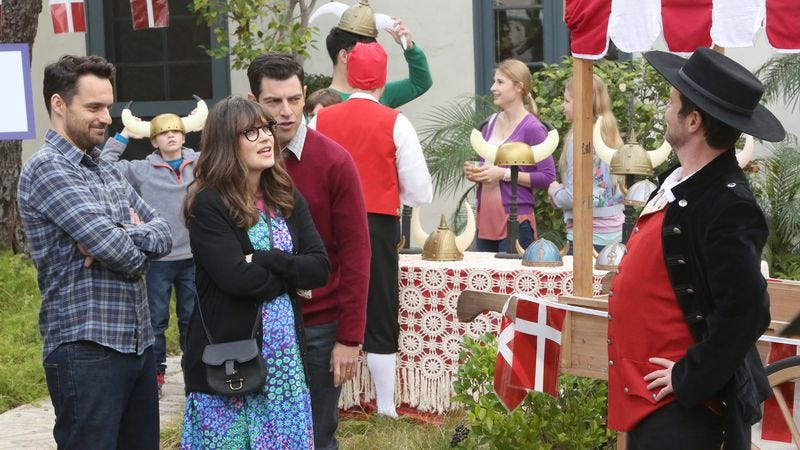 (Jake Johnson, Zooey Deschanel, Max Greenfield, Jon Daly) (Photo: Patrick McElhenney/FOX)