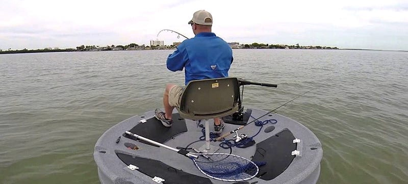 A floating disc boat gives fishermen 360 degree access to for Circle fishing boat