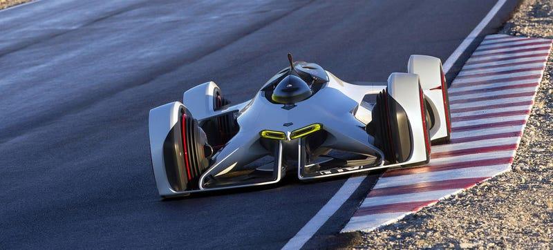 Illustration for article titled Chevrolet diseña un coche futurista con motor láser para Gran Turismo