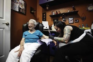 Illustration for article titled Grandma Gets Her Third Tattoo At Age 101