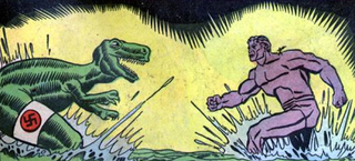Illustration for article titled Batshit Golden Age comic reveals Hitler's lost superweapon: a robot T-Rex